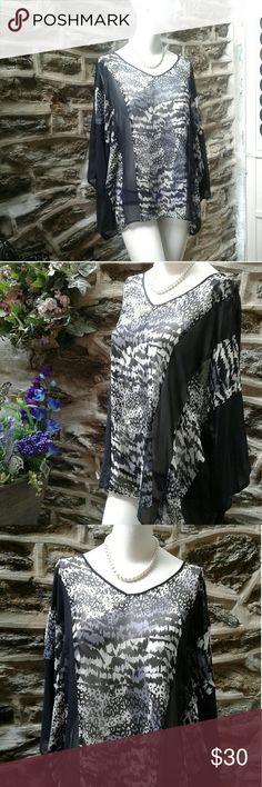 Sheer Gray & White Animal Print w/Peep Shoulder Simonton Says sexy sheer blouse Tops Blouses