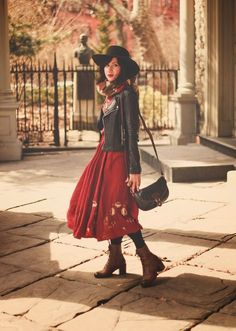 Flashes of Style | Red boho peasant dress with boots and leather jacket |  Wearing: dress- Free People; jacket- Grey Dog vintage; hat & bag- vintage; boots c/o Seychelles