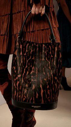 Dark camel The Bucket Bag in Animal Print Calfskin - Image 1