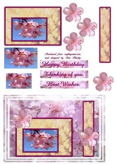 A bright fresh card to send best wishes, easy to make card a mix of pyramid ans step by step. Has labels for happy birthday, thinking of you and best wishes, enjoy. Purple Butterfly, Purple Roses, Birthday Cards, Happy Birthday, Pink Blossom, Brighten Your Day, Hobbies And Crafts, Spring Flowers, Spring Time