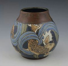 Sassafrass Pottery - Sarah Moore - Koi Vase - Pasadena, California