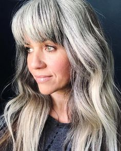 <img> 50 Silver Gray Ombre Hair Color Ideas, Silver Gray Ombre Hair is more than on trend right now. Grey hair is no longer considered 'granny hair' though the style has been affectionately c…, Hair Color - Grey Ombre Hair, Long Gray Hair, Silver Grey Hair, Grey Hair With Bangs, Grey Hair Inspiration, Style Inspiration, Curly Hair Styles, Natural Hair Styles, Gray Hair Growing Out