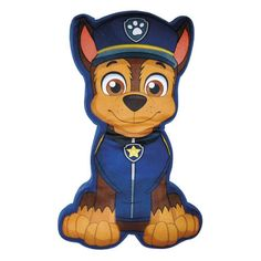 PAW PATROL CHASE CHARACTER PRINT SHAPE CUSHION SOFT BLUE KIDS BOYS CHILDRENS