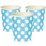 Pale Blue Polka Paper Party Cups