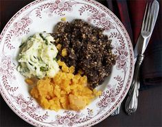 Haggis, neaps and tatties aka Haggis swede, and potatoes. Love it. and they make the best haggis where I live in Scotland... of course. :)