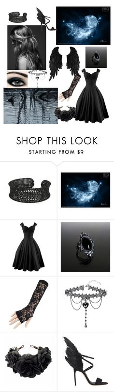 """Heavens Darkest Angel: Dark Souls, Angels day 1"" by a-dreamer-of-impossible-dreams ❤ liked on Polyvore featuring WithChic, Rock 'N Rose and Brian Atwood"