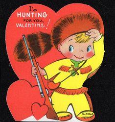 Vintage Unused VALENTINE Card Daniel Boone Davy Crockett Boy I'M HUNTING FOR YOU