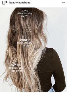 Blonde Hair With Highlights, Brown Blonde Hair, Black Hair, Hair Color Formulas, Redken Color Formulas, Curled Prom Hair, Redken Hair Color, Redken Hair Products, Hair Toner