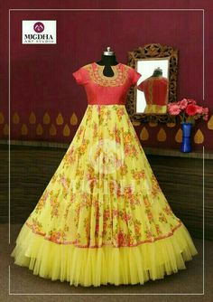 Refreshing design in floral print with hand touch in tint color combination from the house of mugdha art studio. Product code - MA 142 To Order : WhatsApp: 8142029190 / 9010906544 . Party Wear Long Gowns, Kids Party Wear Dresses, Party Wear Indian Dresses, Indian Gowns Dresses, Dresses Kids Girl, Long Gown Dress, Frock Dress, Ball Gown Dresses, Mom Dress