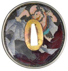 19th CENTURY EDO PERIOD JAPANESE CLOISONNE TSUBA. SWORD GUARD.#8424