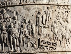 Complete photographic documentation with commentary of the spiral reliefs on Trajan's Column in Rome, sourced both from casts and the reliefs in situ. Trajan's Column, Pottery Art, Archaeology, Fresco, Roman, Nostalgia, Moose Art, Scene, War