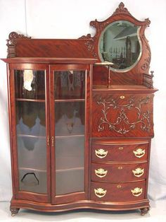 906 - Mahogany, Victorian, Side-by-side Secretary-China Cabinet Victorian Home Decor, Victorian Life, Victorian Furniture, Victorian Dollhouse, Victorian Homes, Antique Furniture, Victorian Interiors, Real Wood Furniture, Furniture Styles