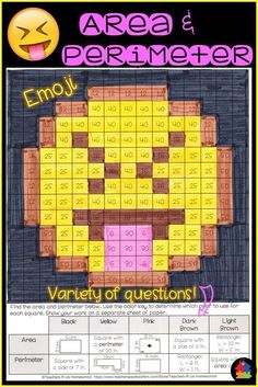 Area and Perimeter Emoji Math Resources, Math Activities, Math Worksheets, Math Games, Math 5, Classroom Resources, Classroom Ideas, Math Stations, Math Centers