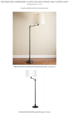 COPY CAT CHIC FIND: Restoration Hardware's Fluted Column Swing Arm Floor Lamp VS Cost Plus World Market's Swing Arm Floor Lamp