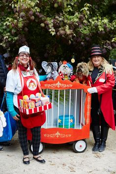 The 40+ Best Dog Costumes EVER  #refinery29  http://www.refinery29.com/2015/10/96371/new-york-dog-parade-pictures#slide-5  A circus-themed float doubles as a relaxing ride....