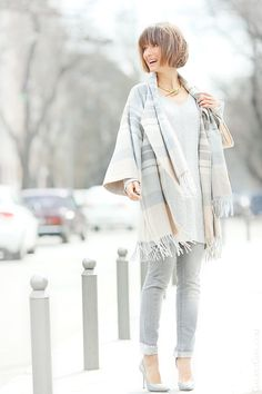 total nude outfit on GalantGirl.com with Asos poncho and coccinelle bag