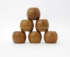Vintage Wooden Napkin Rings // Set of six by Yugovicheva on Etsy