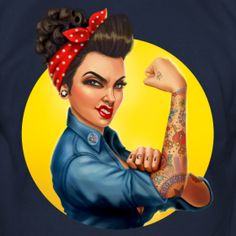 Pinup Bombshells is the home of sensual and voluptuous cartoon betties who celebrate the cultures of pinup, rockabilly, alternative, inked and even sweet ol cherry pie ladies. Cartoon personal Pin Up Commissions available! Rosie The Riveter, Rockabilly Pin Up, Rockabilly Fashion, Rockabilly Artwork, Rockabilly Tattoos, Rockabilly Makeup, 50s Makeup, Retro Tattoos, Crazy Makeup