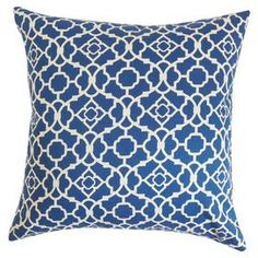 Plush down pillow with a cotton cover. Showcases a trellis mosaic motif in lapis blue and cream.  Product: PillowConstruction Material: Cotton cover and down fillColor: LapisFeatures:  Insert includedHidden zipper closureMade in the USA Dimensions: 18 x 18Cleaning and Care: Spot clean