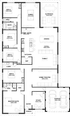 floorplan_has all the bits I want- convert games room to studio, and theatre room to double as kids play room this plannis perfect! Number of bedrooms- breakfast nook as well as dining table space, and srudy for me House Layout Plans, Dream House Plans, Modern House Plans, Small House Plans, House Layouts, House Floor Plans, Home Design Floor Plans, Dream Home Design, House Design