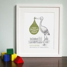 Bespoke gorgeous new baby twins stork illustration by FinleyFoo, £60.00