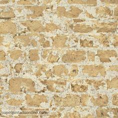 Papel Pintado New Walls NWS_1844_62_72, papel de imitación piedra en un claro tono marrón.