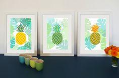 8 boutons ananas en bois peint wooden pineapple buttons 3,5 cm