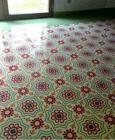 Decorative cement floor tiles from Apartment Therapy Re-Nest