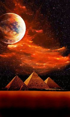 Mega moon over the Pyramids