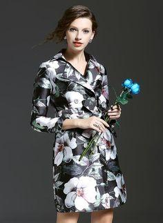 Cotton & Cotton Blend As Picture Long 3/4 Sleeves Lapel Coats & Jackets