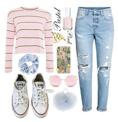 """""""Untitled #91"""" by kendra-adame ❤ liked on Polyvore featuring Topshop, H&M, RIFLE, Converse, Matthew Williamson, Allurez, Essie and Yves Salomon"""