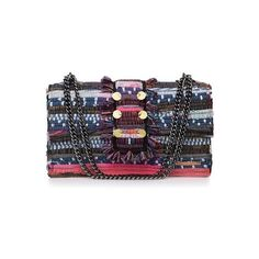 KOORELOO Multicolor Large New Yorker (2.195 DKK) ❤ liked on Polyvore featuring bags, handbags, shoulder bags, print purse, embellished purse, chain strap handbags, multicolor handbags and shoulder bag purse