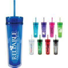 Have a drink to a truly successful promotional product! This Slender Sip Tumbler measures 16 oz and features a double wall acrylic tumbler in a tall and slender design for stylish look.
