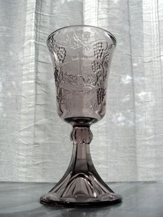 """Tiara Indiana Glass Amethyst Lord's Supper 7"""" Chalice Goblet #IndianaGlass"""