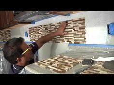 Glass/Stone Tile Backsplash - How to, Menards Glass Mosaic Tile Backsplash, Install Backsplash, White Subway Tile Backsplash, Stone Backsplash, Kitchen Backsplash, Kitchen Cabinets, Ceiling Tiles, Dream Decor, Decorating On A Budget