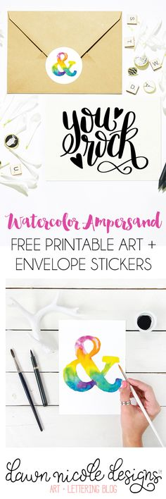 Watercolor Ampersand Free Art Print + Stickers. Hang it as a pretty art print or use this free file to create your own DIY Envelope Sealers!