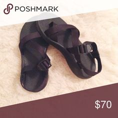 Black Single Strap Chacos These black Chacos are in amazing condition. Size 7 women's, straps can be adjusted to fit anywhere from a 6.5 (loose) to a 7.5 (snug). Chacos Shoes Sandals