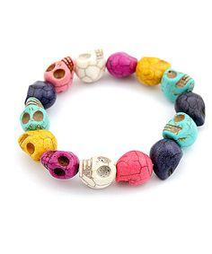 Multi Colored Skull Stretch Bracelet