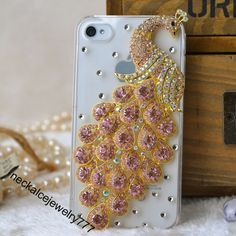 Bling Peacock Case Cover for iphone 4 4s, luxury Diamond pearls peacock iphone 4g case hard case womens Thankgiving gift from Boutiquewomens...