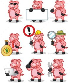 Deep Pink Pig Mascot Set