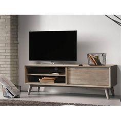 Salón con mueble de televisión de madera maciza Derwon 130. Es un mueble ideal para espacios pequeños. Living Room Sofa, Ikea, Sweet Home, Antiques, Design, Home Decor, Decoration, Solid Wood, Future House