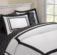 Pottery BArn Teen Suite Black & White Hotel Duvet Cover Full Queen Size EUC