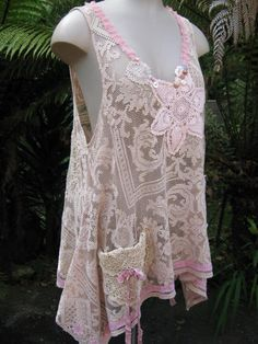 DUSKY PINK TUNIC, UPCYCLED CROCHET, DOILIES.. VINTAGE KITTY