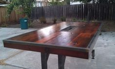Redwood and Iron outdoor table