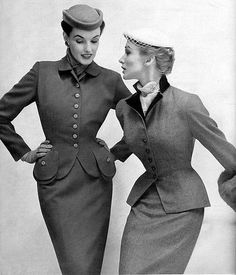 50s suits. 1947-1953 Dior' s New Look, weren't always full skirts, the other option was a pencil skirt. (Jessica S.)