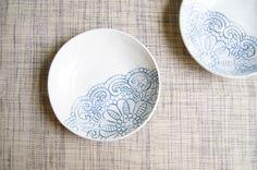 small ceramic dish . jewellery dish ring . pottery houseware rustic ceramic home decor . ceramic lace dish . white blue rustic ceramic dish
