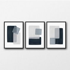 Minimal modern art print set of three in lovely calming shades of navy blue and gray. These original artworks are perfect for making a contemporary statement in your home. Perfect for living room, bedroom, dining room, nursery, office, entryway! You can download and print this file instantly giving