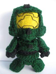 Halo Master Chief Crochet Keychain Optional by LadybugGirl7