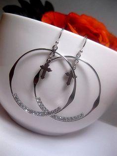 Silver Hoop Earrings With Cross Dangle