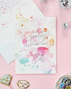 Paper Party 2016: Rainbow Watercolor and Hologram Foil Invitations